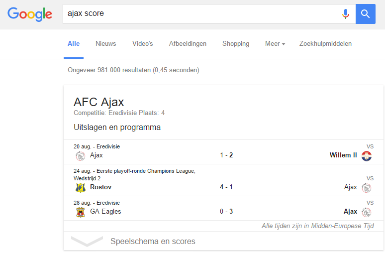 Google-score-ajax