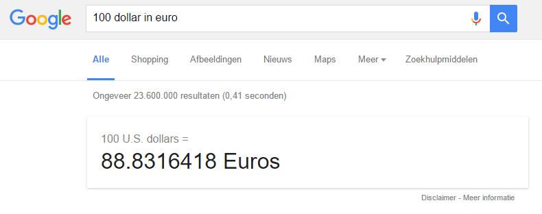 Google-valuta-conversie
