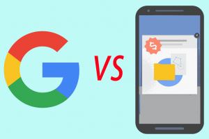 Google logo vs mobile met pop-up