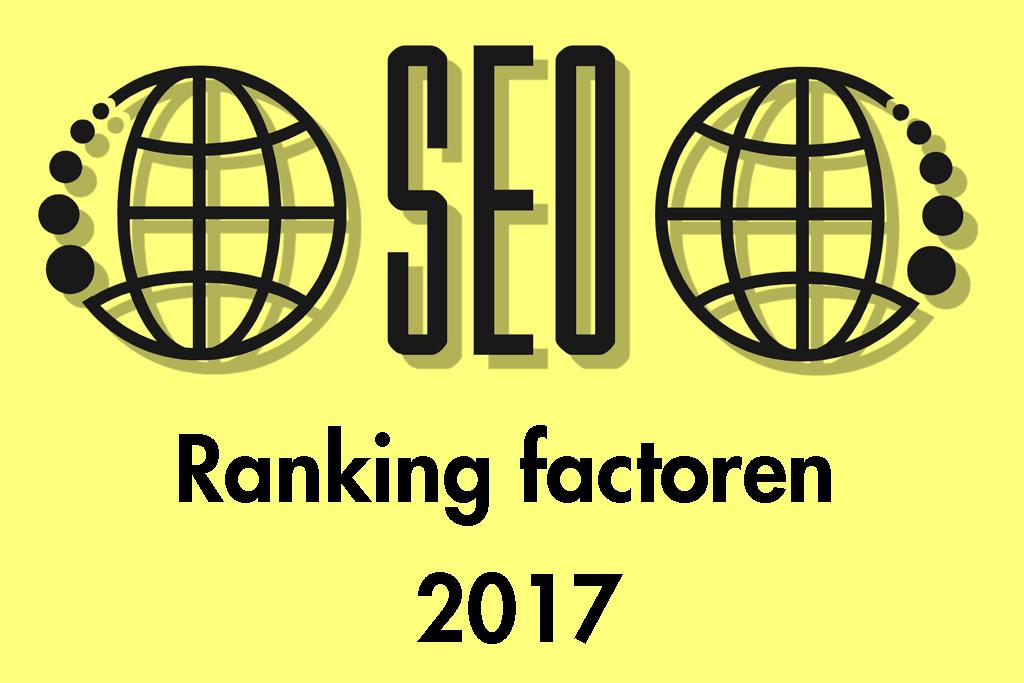 SEO graphic met 2 wereldbollen en tekst 'ranking factoren 2017'